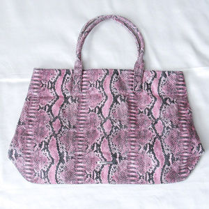 BCBG Vegan Leather Snakeskin Print Pink Tote Purse